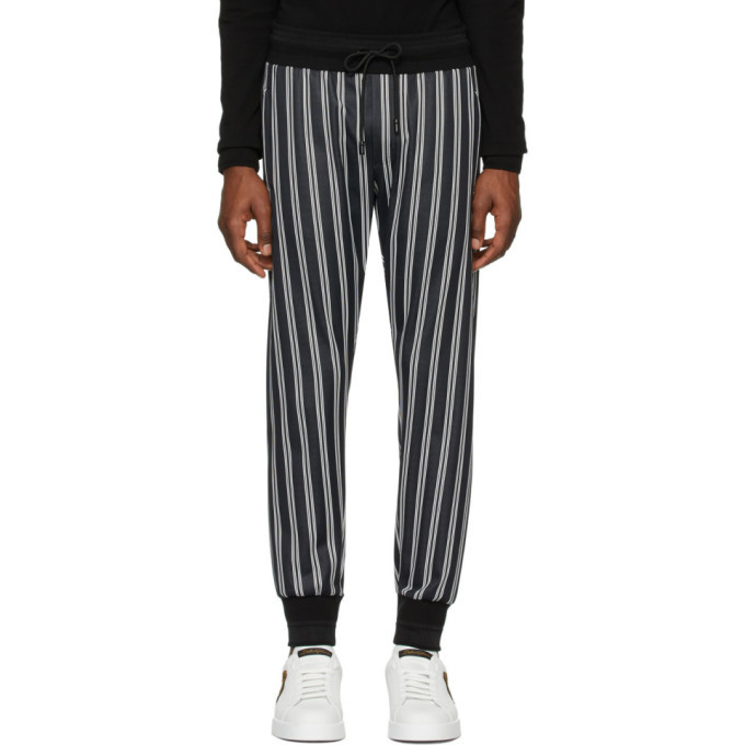 Photo: Dolce and Gabbana Black and White Striped Lounge Pants