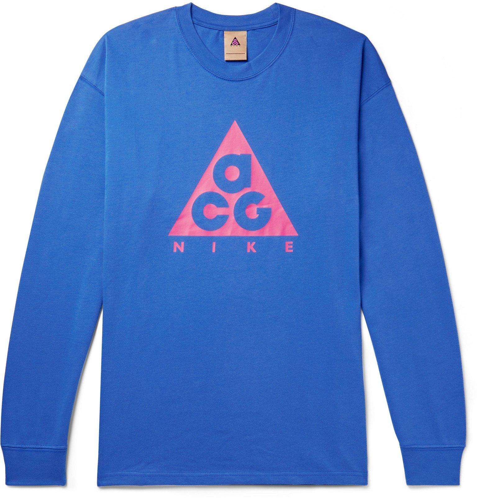 Photo: Nike - ACG NRG Oversized Logo-Print Cotton-Jersey T-Shirt - Blue