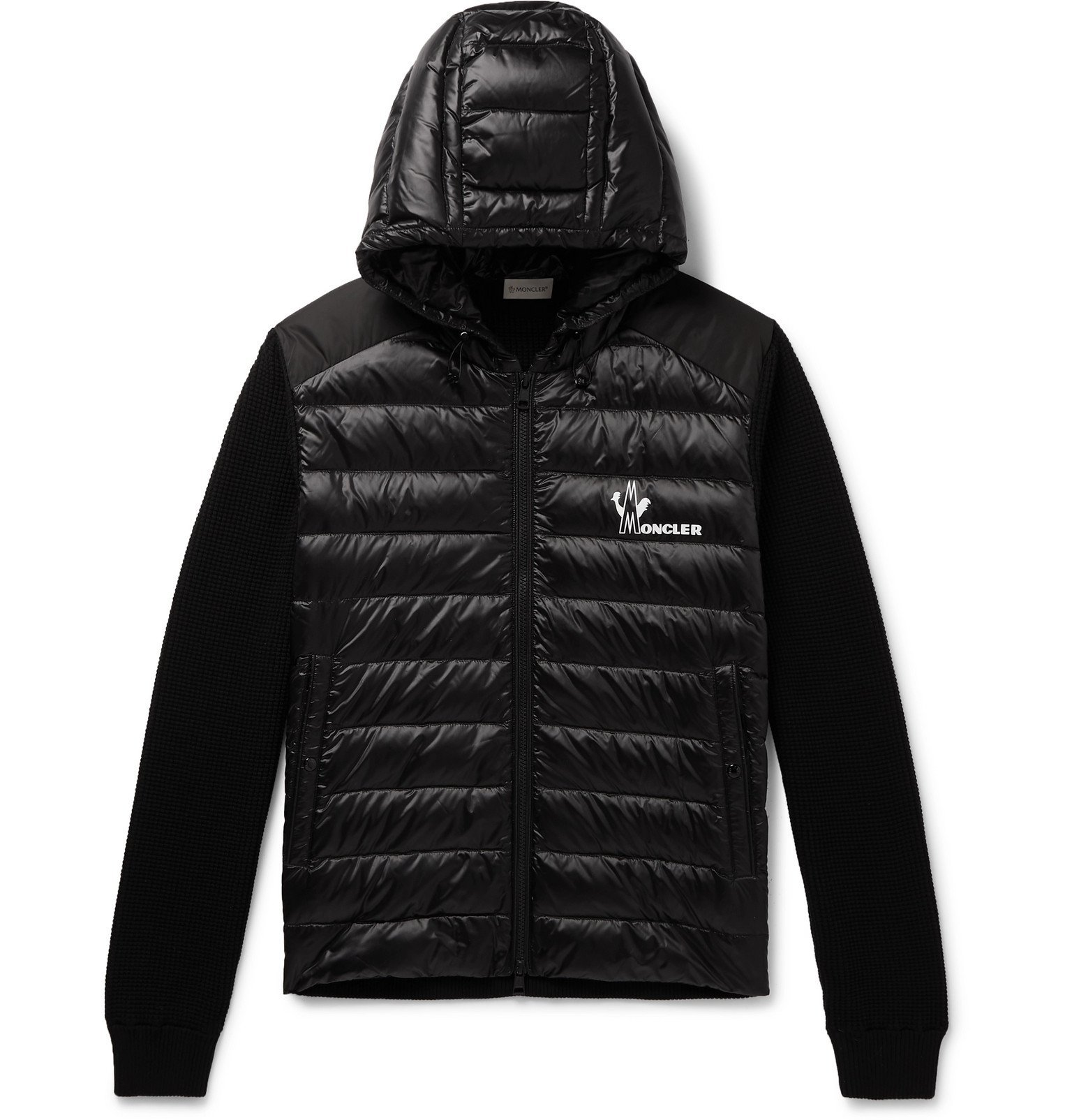 Moncler - Slim-Fit Panelled Waffle-Knit Cotton and Quilted Shell Down Zip-Up Sweater - Black