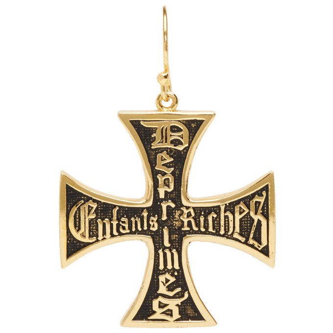Photo: Enfants Riches Deprimes Gold and Black Cross Earring