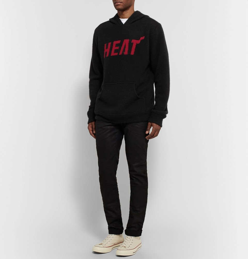 The Elder Statesman - NBA Miami Heat Intarsia Cashmere Hoodie - Black