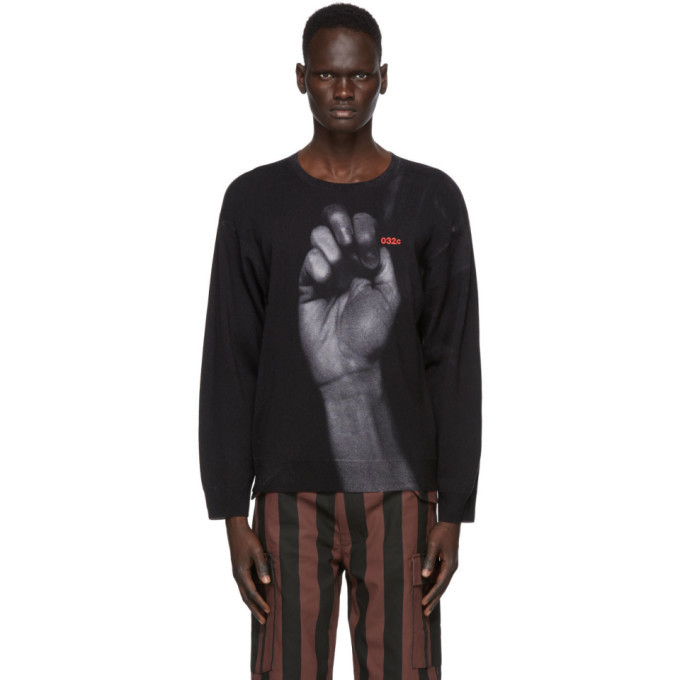 Photo: 032c Black Fist Print Sweater