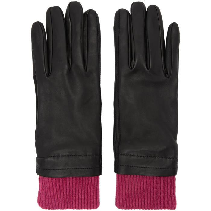 Photo: AMI Alexandre Mattiussi Black and Purple Rib Cuff Gloves