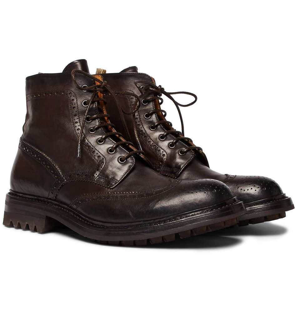 Photo: Officine Creative - Exeter Leather Brogue Boots - Men - Dark brown