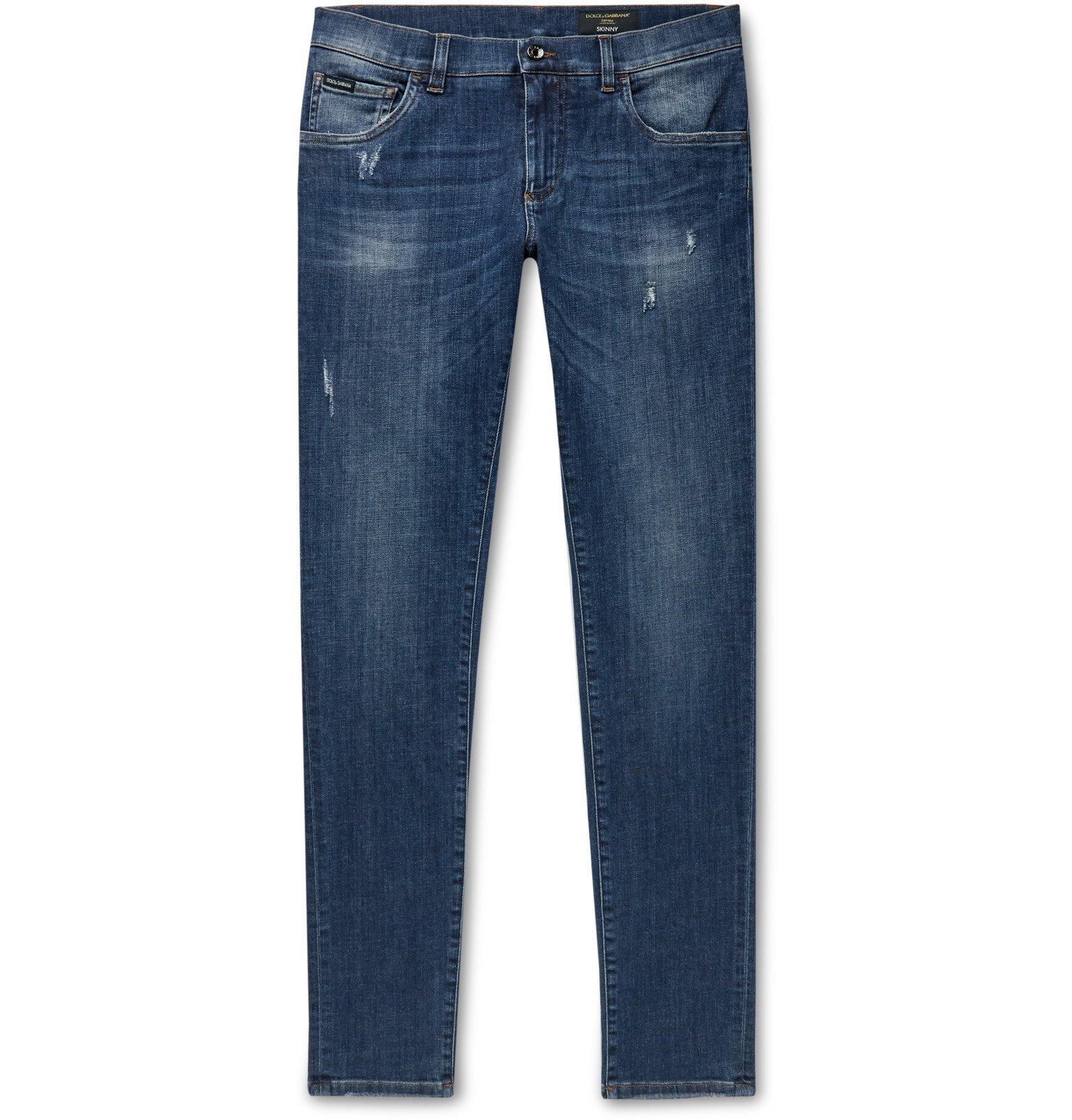 Dolce & Gabbana - Skinny-Fit Distressed Stretch-Denim Jeans - Blue