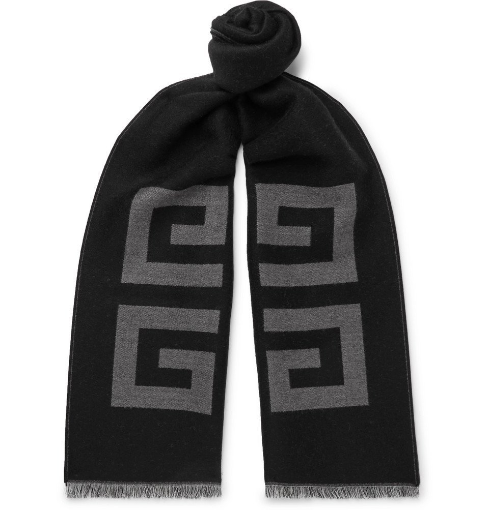 Photo: Givenchy - Fringed Logo-Intarsia Wool and Silk-Blend Scarf - Black