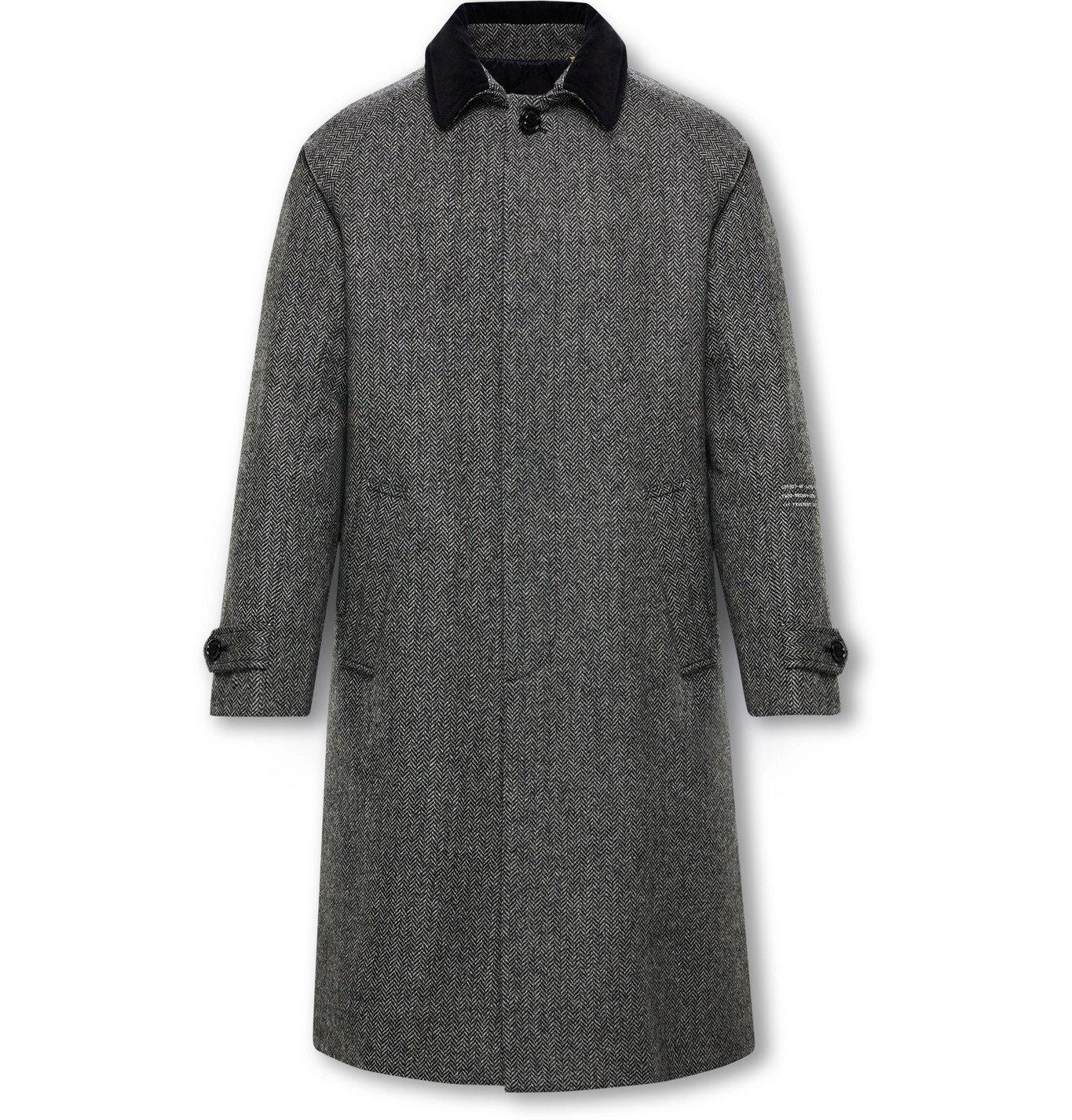 Photo: Moncler Genius - 7 Moncler Fragment Valloryx Logo-Print Herringbone Wool Coat - Gray