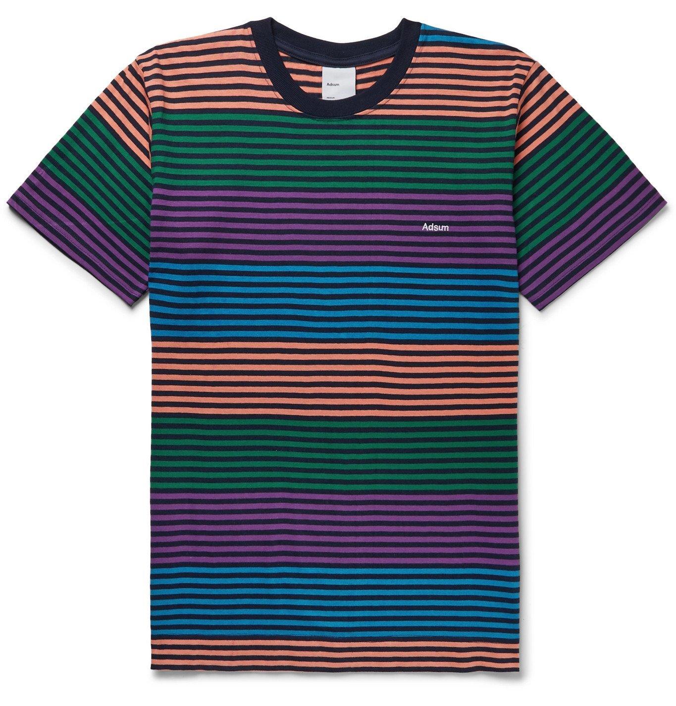 Adsum - Candy Logo-Embroidered Striped Cotton-Jersey T-Shirt - Multi