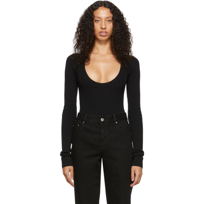 Bottega Veneta Black Scoop Neck Bodysuit