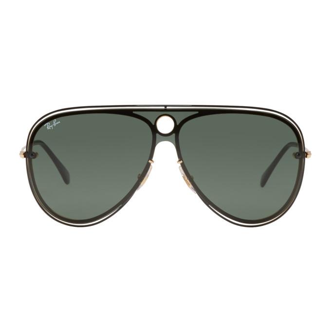 Photo: Ray-Ban Black and Gold Pilot Aviator Sunglasses