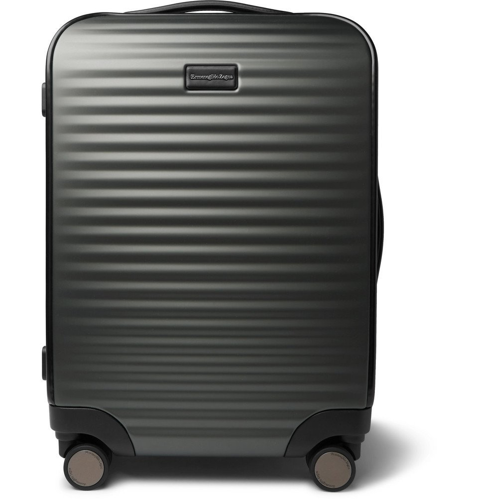 Photo: Ermenegildo Zegna - Leather-Trimmed Polycarbonate Carry-On Suitcase - Gray
