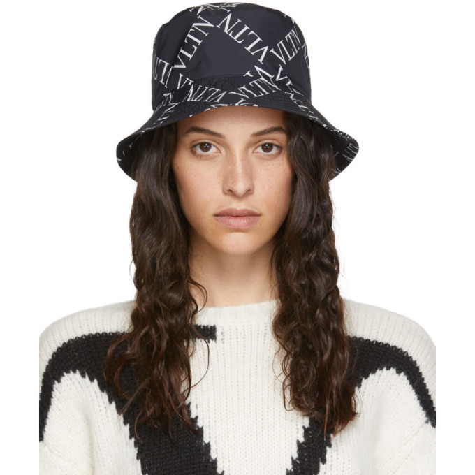 Photo: Valentino Black and White Valentino Garavani VLTN Bucket Hat