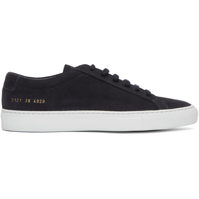 Common Projects Navy and White Suede Original Achilles Low Sneakers