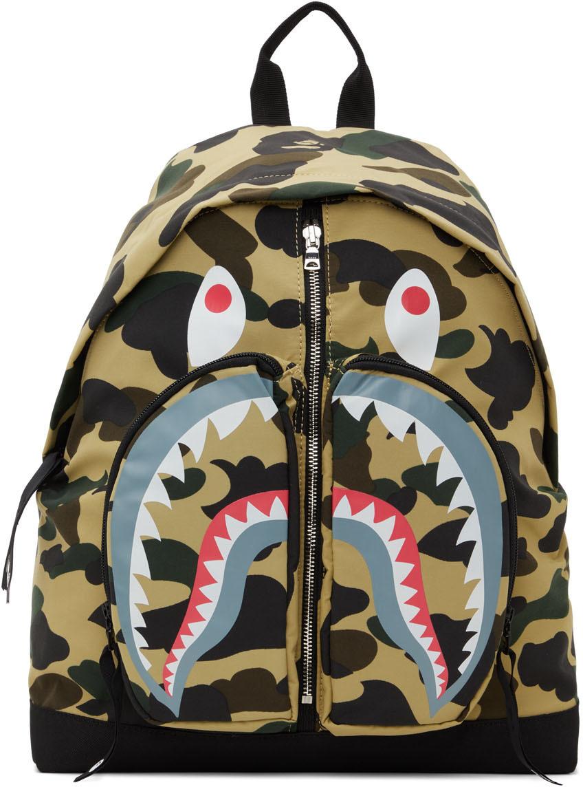Photo: BAPE Yellow 1st Camo Shark Day Backpack