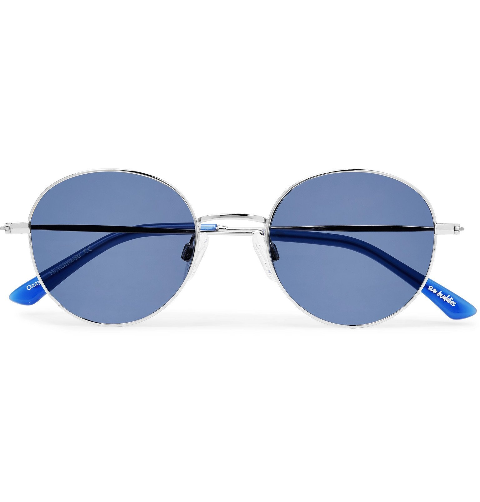 Photo: Sun Buddies - Ozzy Round-Frame Stainless Steel and Acetate Sunglasses - Silver