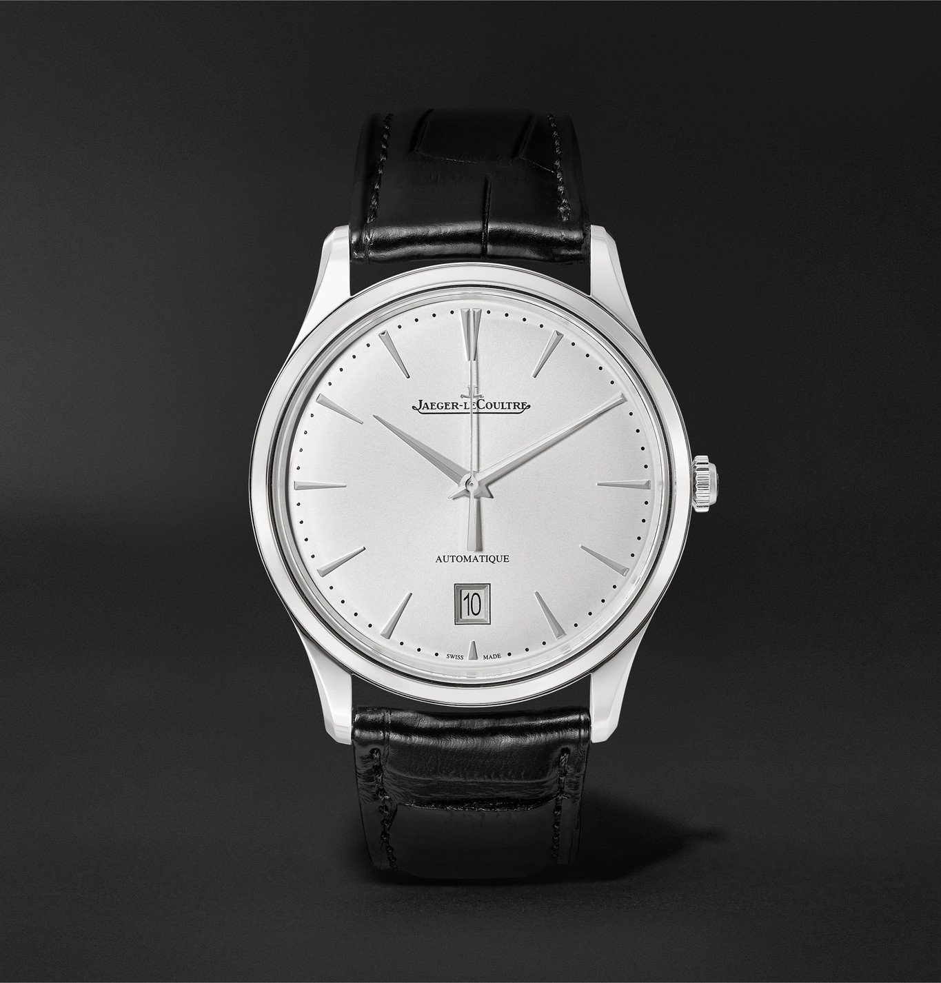 Photo: Jaeger-LeCoultre - Master Ultra Thin Date Automatic 39mm Stainless Steel and Alligator Watch - Silver