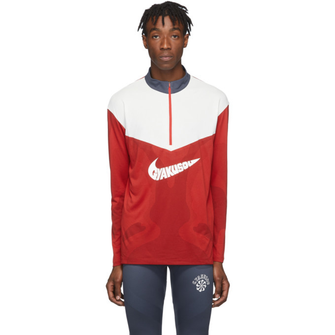Photo: Nike Red and White Gyakusou Half-Zip Sweater