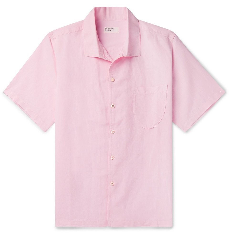 Photo: Universal Works - Overdyed Linen and Cotton-Blend Shirt - Pink
