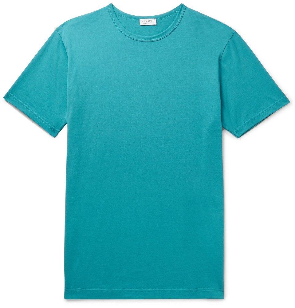 Sunspel - Pima Cotton-Jersey T-Shirt - Petrol