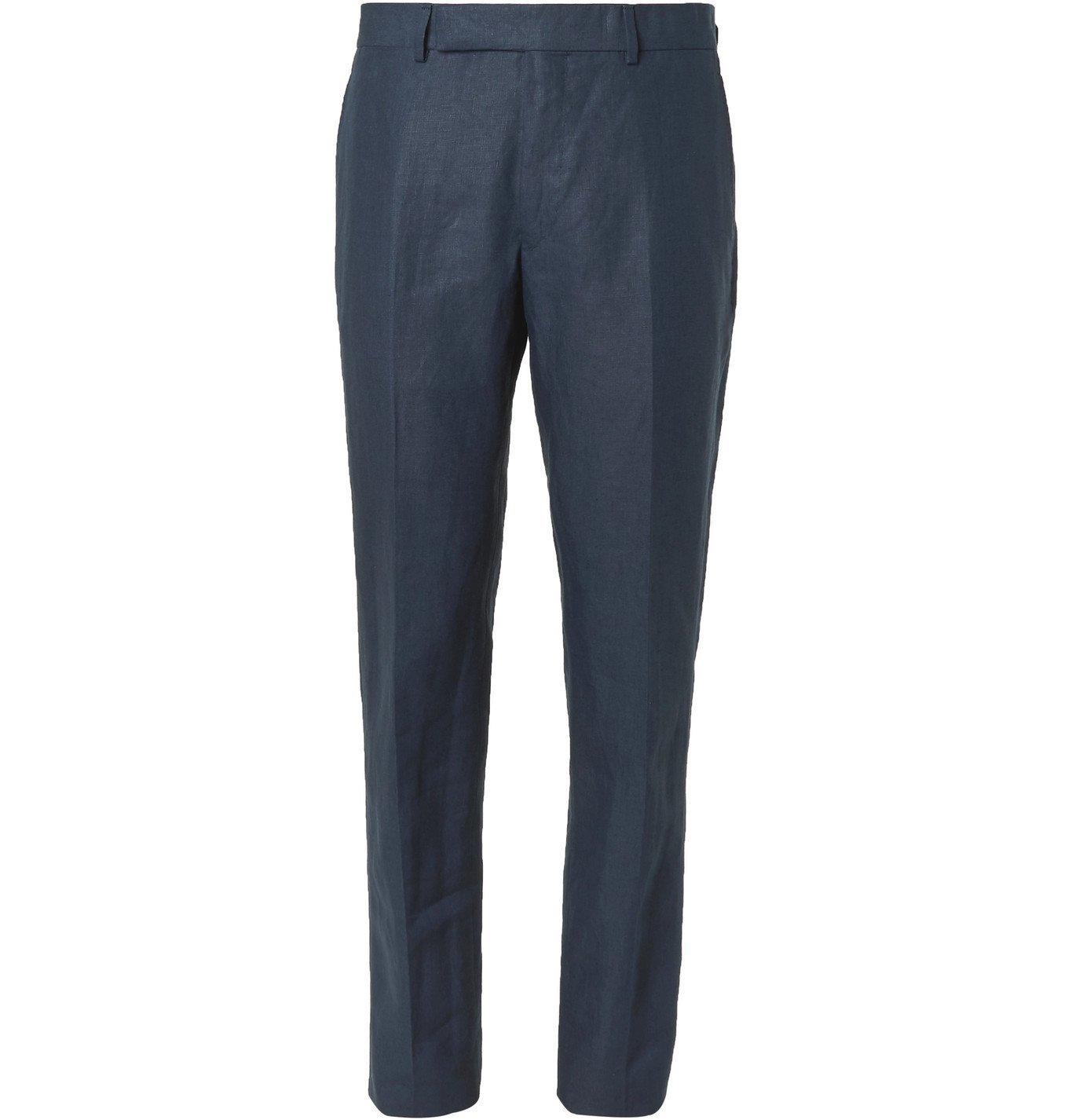 Dunhill - Slim-Fit Linen Suit Trousers - Blue