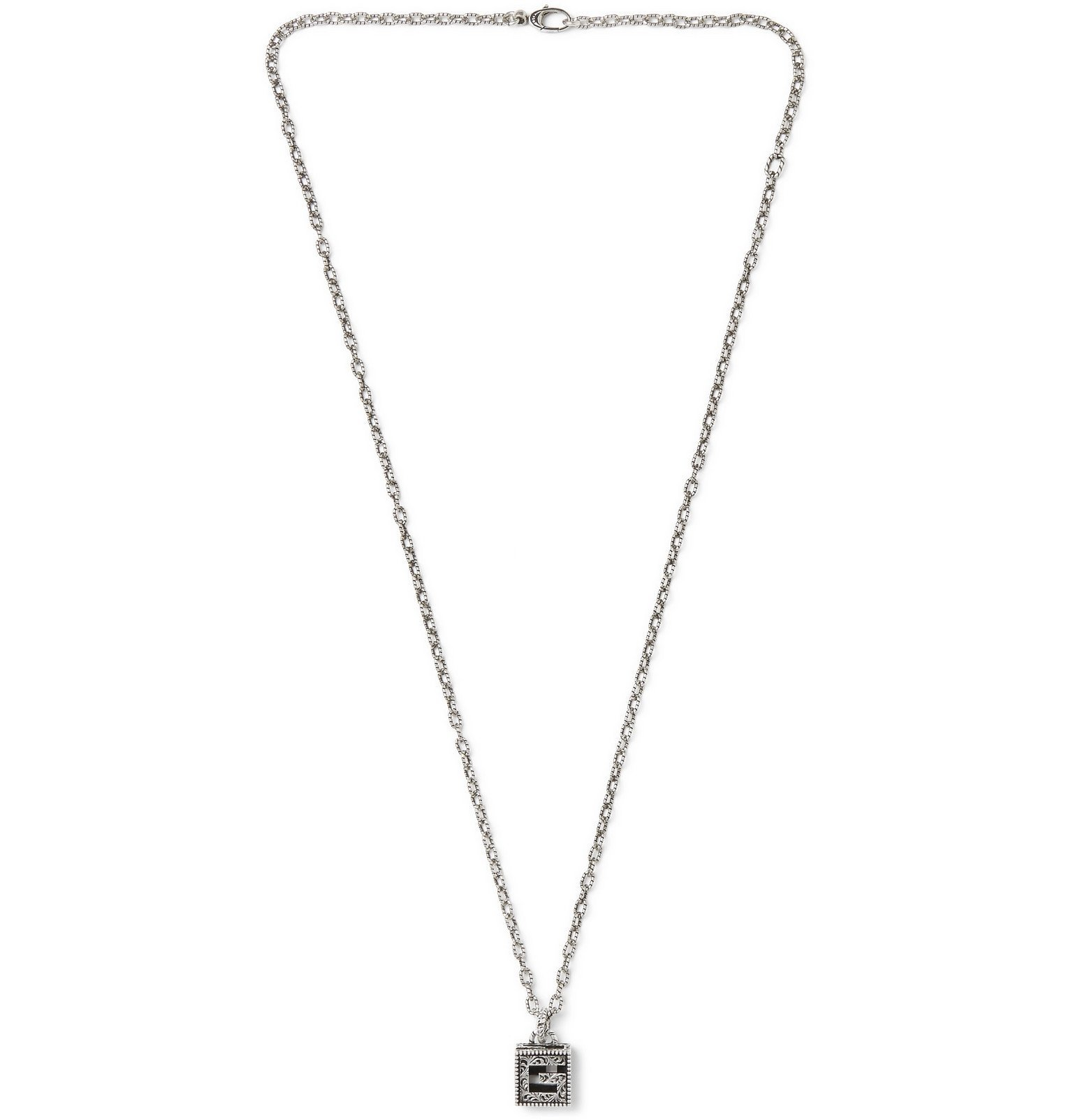 Photo: Gucci - Engraved Burnished Sterling Silver Necklace - Silver