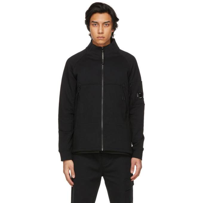 Photo: C.P. Company Black Diagonal Raised Fleece Zipped Sweatshirt