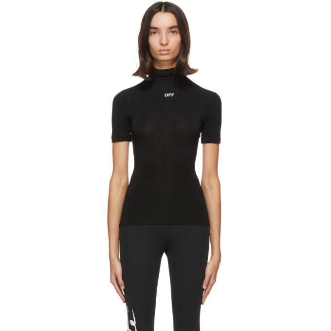 Photo: Off-White Black Jersey Short Sleeve Turtleneck