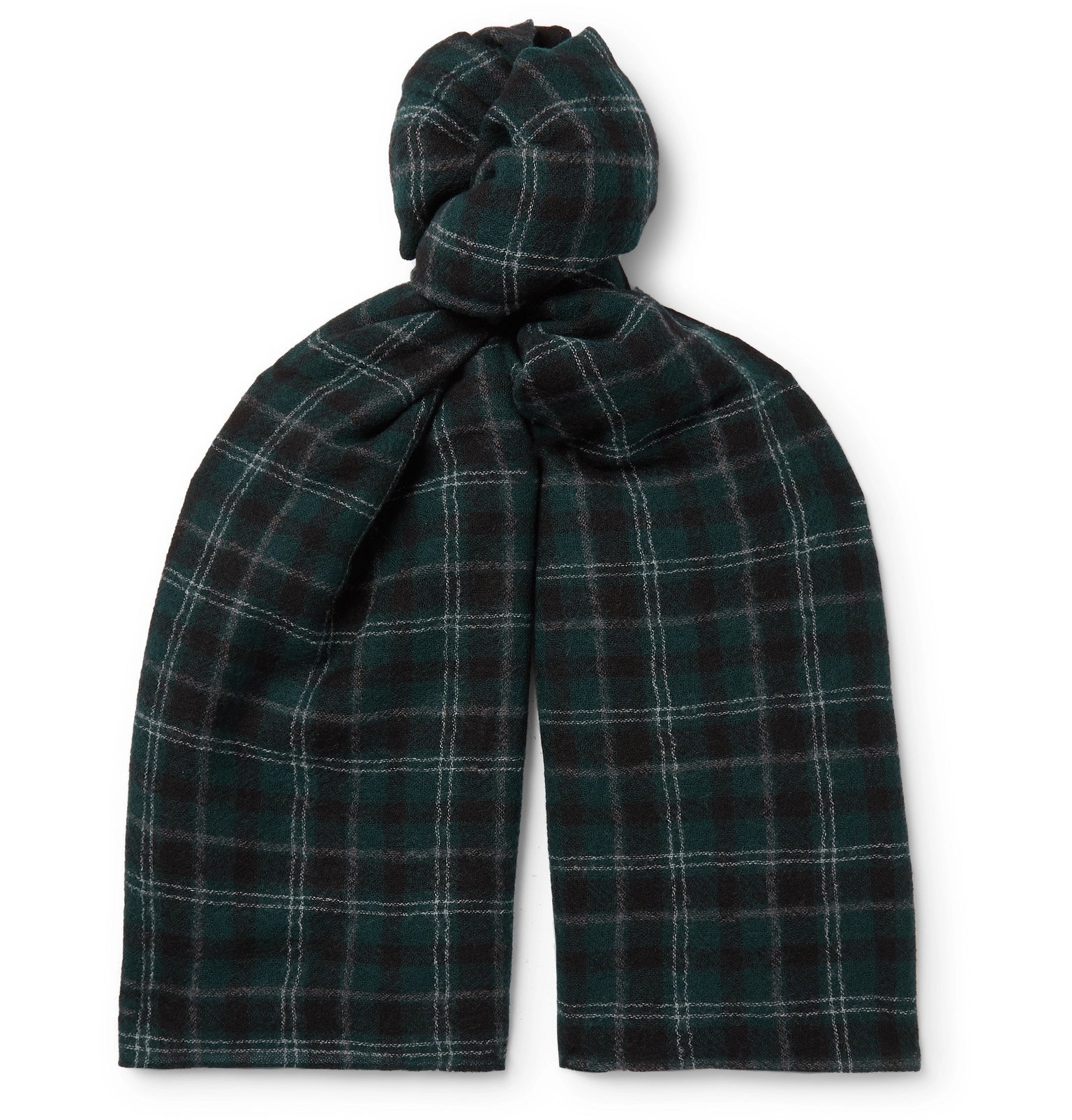 Photo: Officine Generale - Checked Wool Scarf - Green