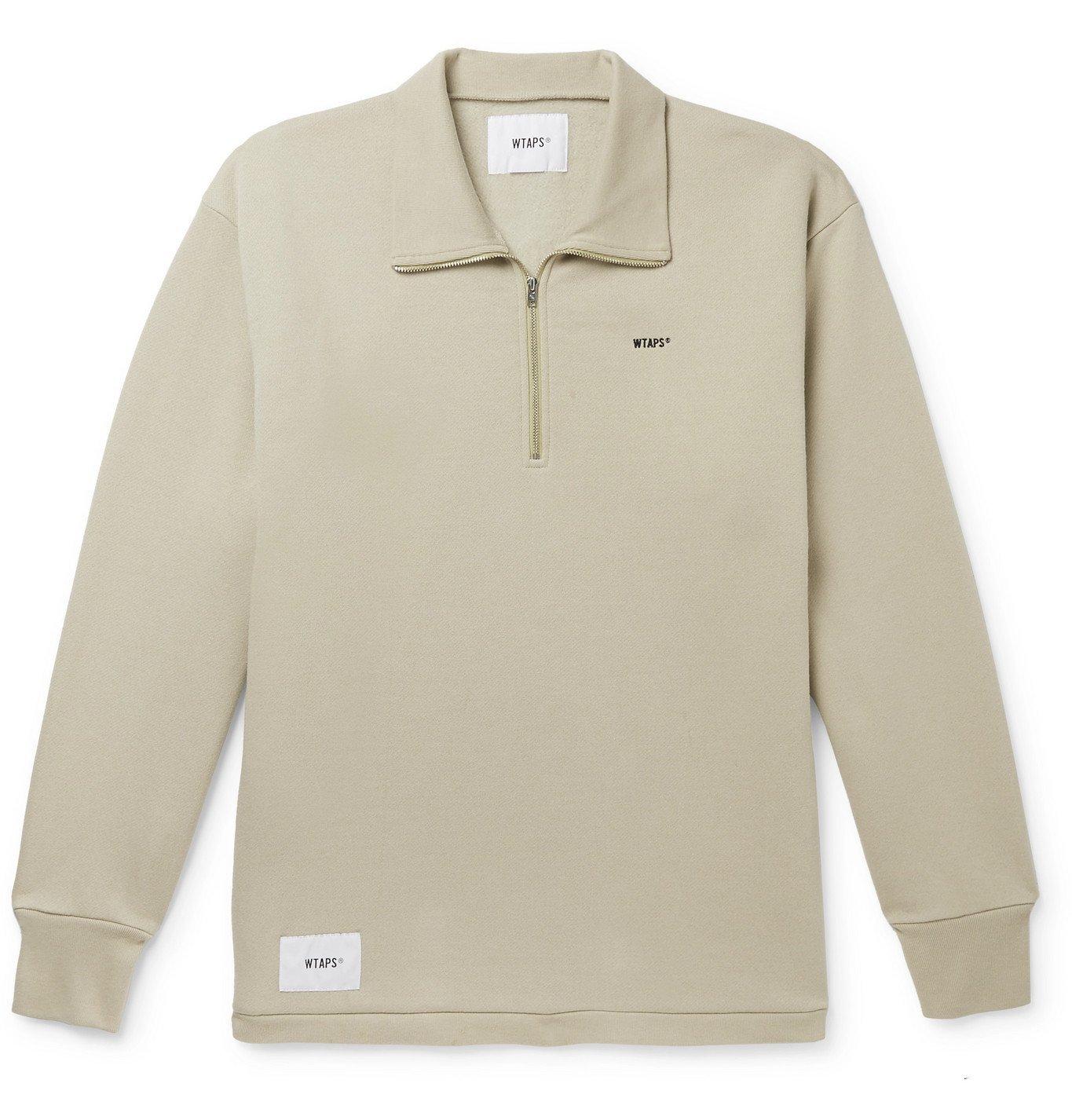 Photo: WTAPS - Logo-Appliquéd Cotton-Blend Jersey Half-Zip Sweatshirt - Neutrals