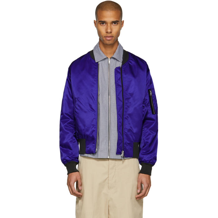 Photo: AMI Alexandre Mattiussi Blue Zip Bomber Jacket