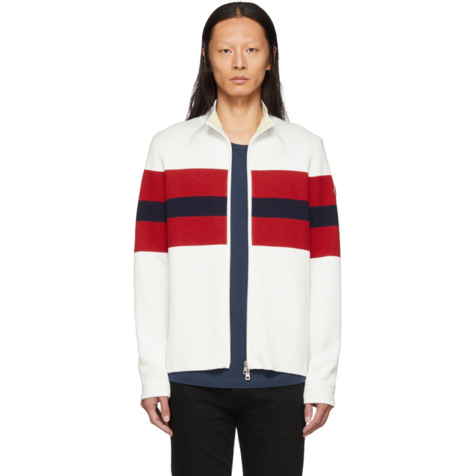 Photo: Moncler White and Red Zip-Up Cardigan