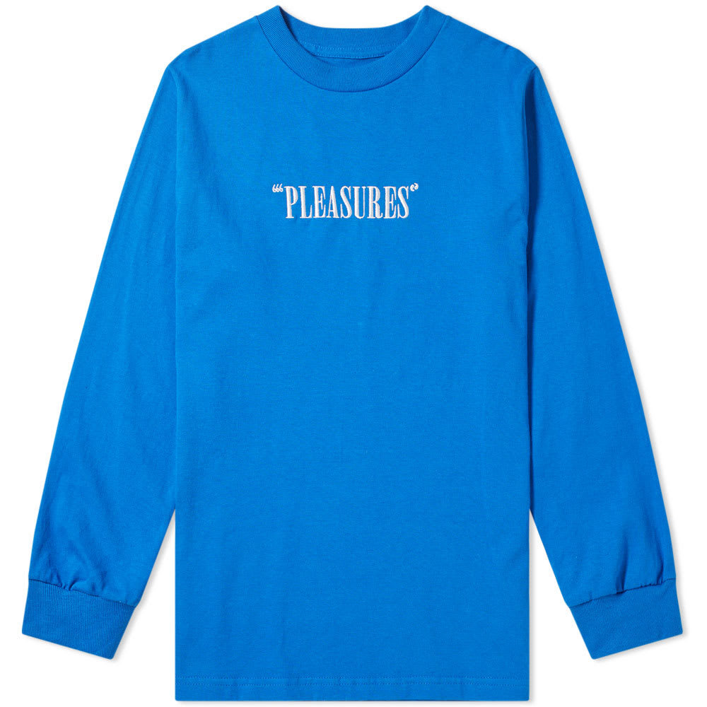 Photo: PLEASURES Long Sleeve Core Logo Embroidered Tee