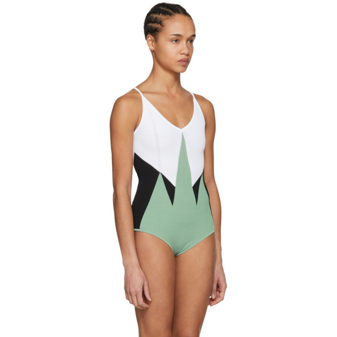 Bottega Veneta Green and White Knit Bodysuit