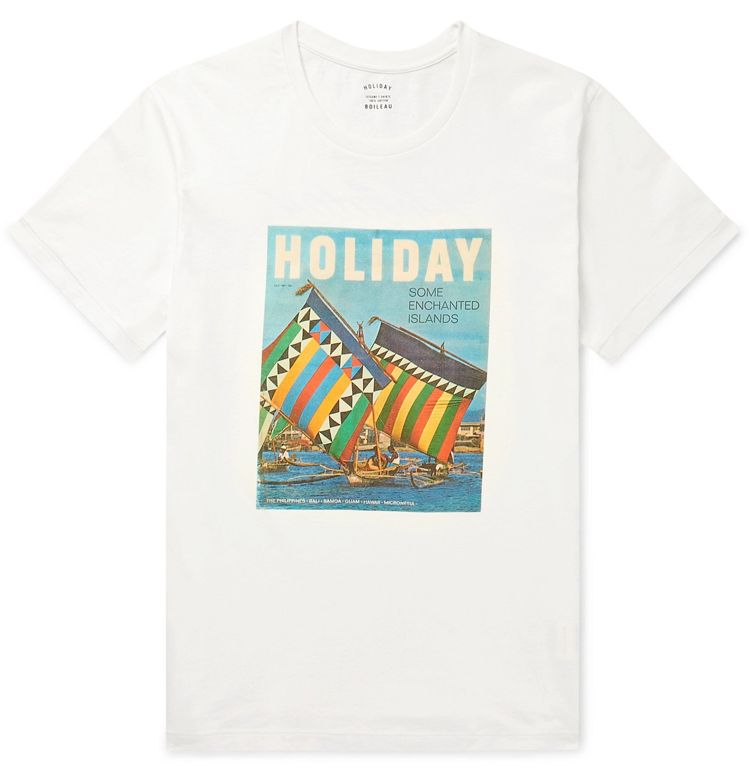 Photo: Holiday Boileau - Slim-Fit Printed Cotton-Jersey T-Shirt - White