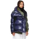 Sacai Navy and Khaki Melton Wool MA-1 Combo Puffer Jacket