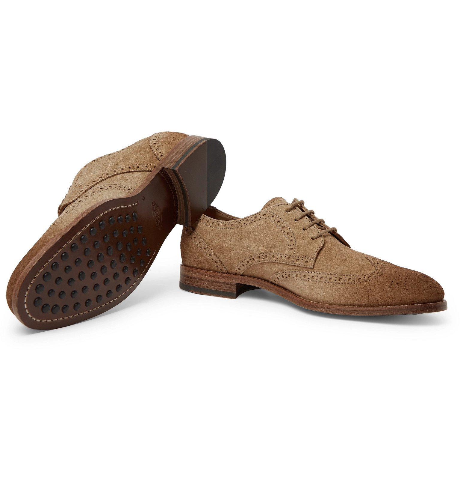 Tod's - Gommino Burnished-Suede Brogues - Brown