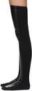 Sacai Black Faux-Leather Thigh High Socks