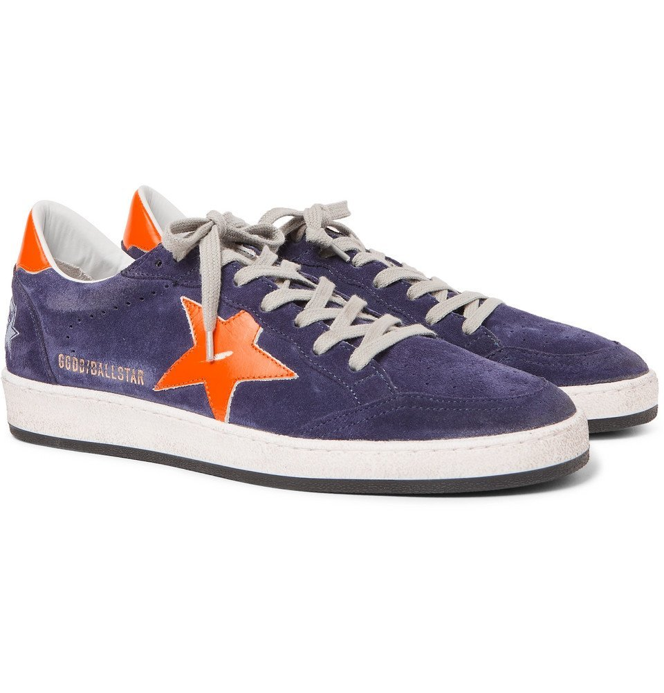 Photo: Golden Goose Deluxe Brand - Ball Star Distressed Suede and Leather Sneakers - Men - Navy