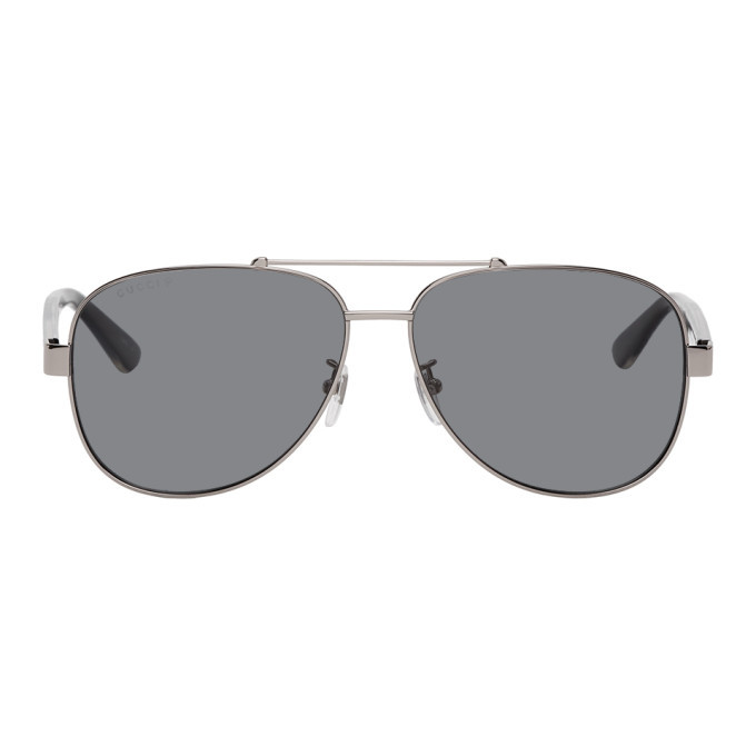 Photo: Gucci Gunmetal and Black Aviator Sunglasses