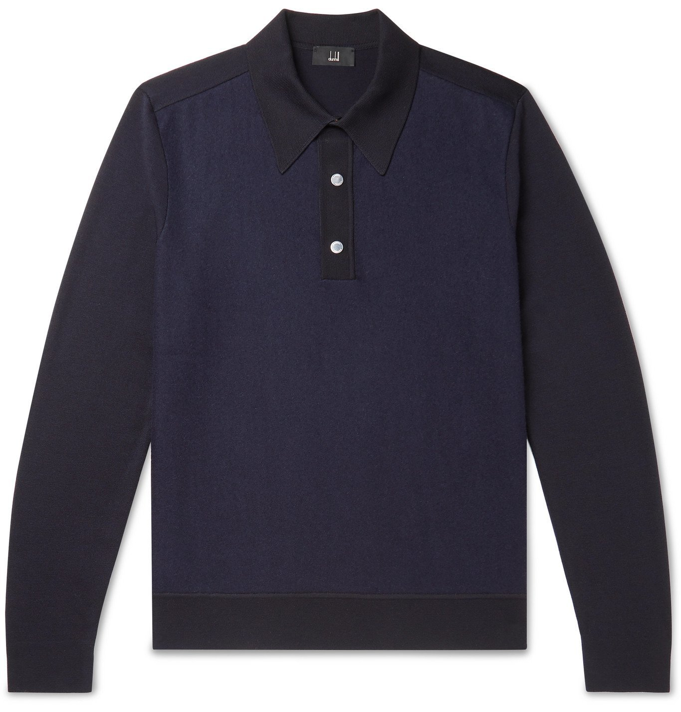 Dunhill - Panelled Wool Polo Shirt - Blue
