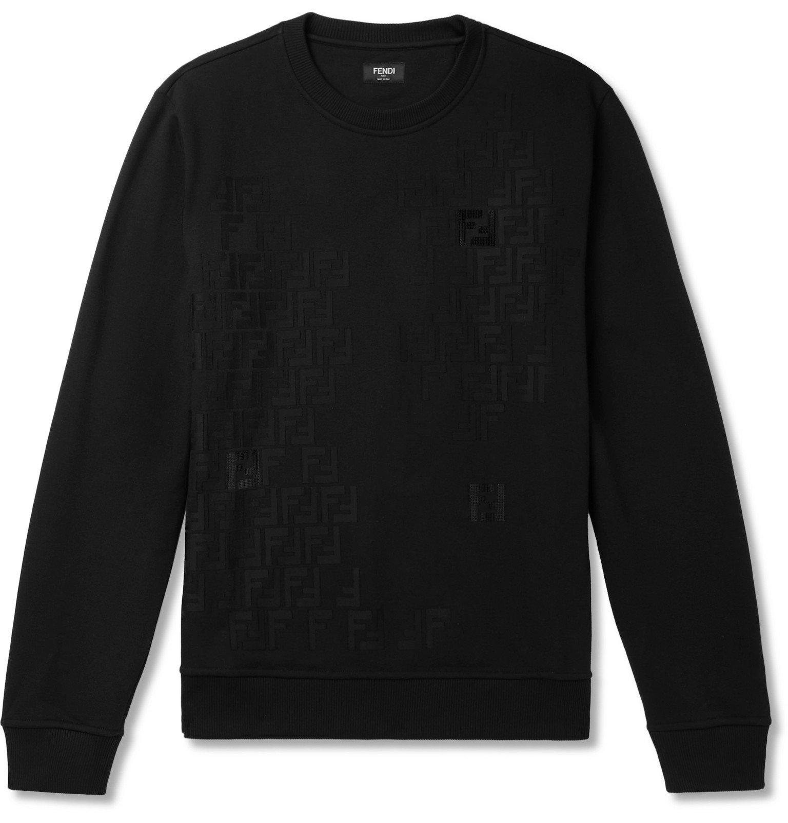 Photo: Fendi - Logo-Detailed Fleece-Back Cotton-Jersey Sweatshirt - Black
