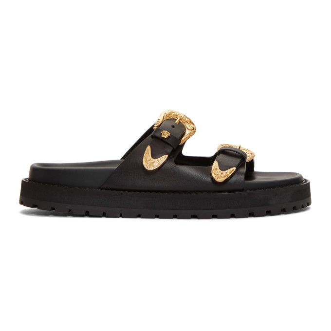 Versace Black Double Buckle Sandals