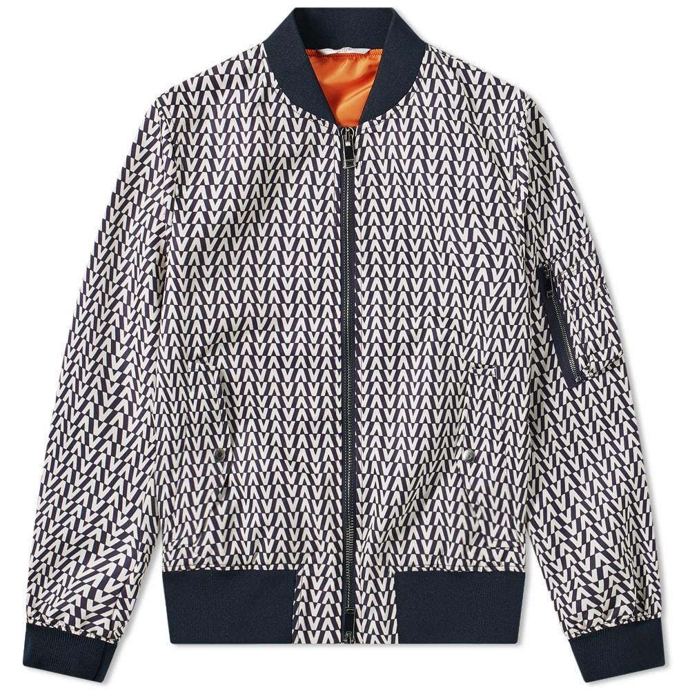Photo: Valentino V Allover Pattern Nylon Bomber Jacket