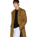 Raf Simons Brown Wool Double Breasted Coat