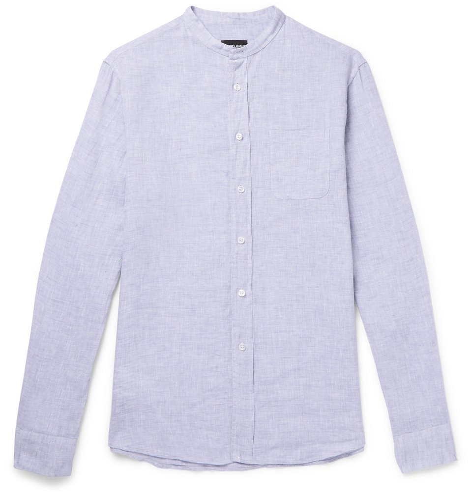 Giorgio Armani - Grandad-Collar Linen-Chambray Shirt - Men - Light blue