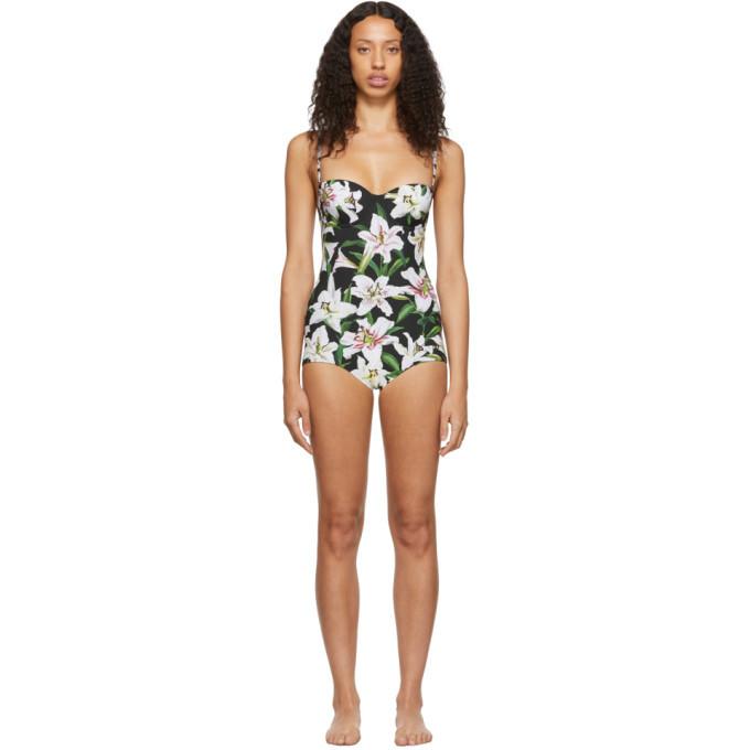 Photo: Dolce and Gabbana Black Lillium Balconette One-Piece Swimsuit