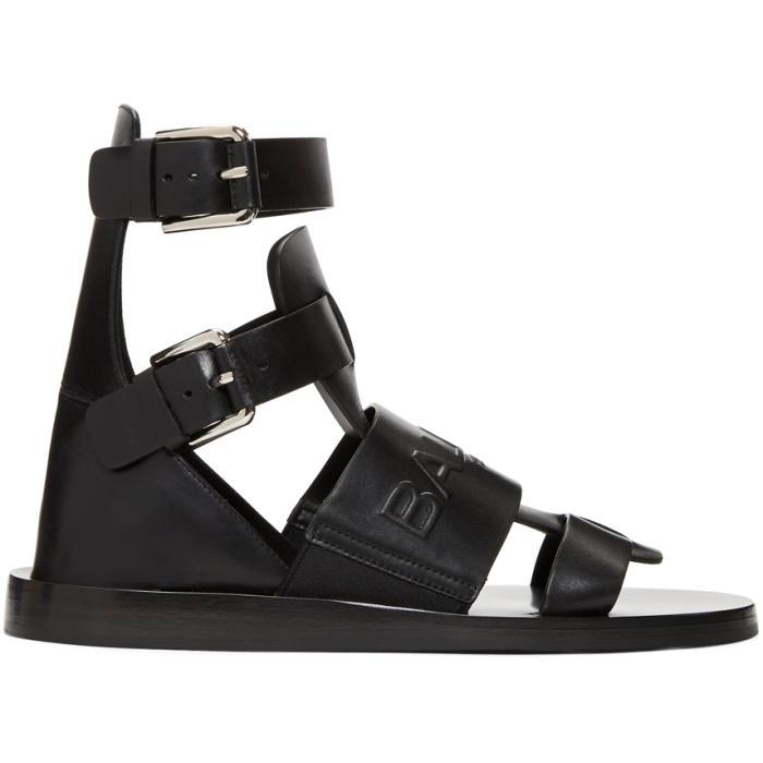 Photo: Balmain Black Chris Embossed Logo Sandals