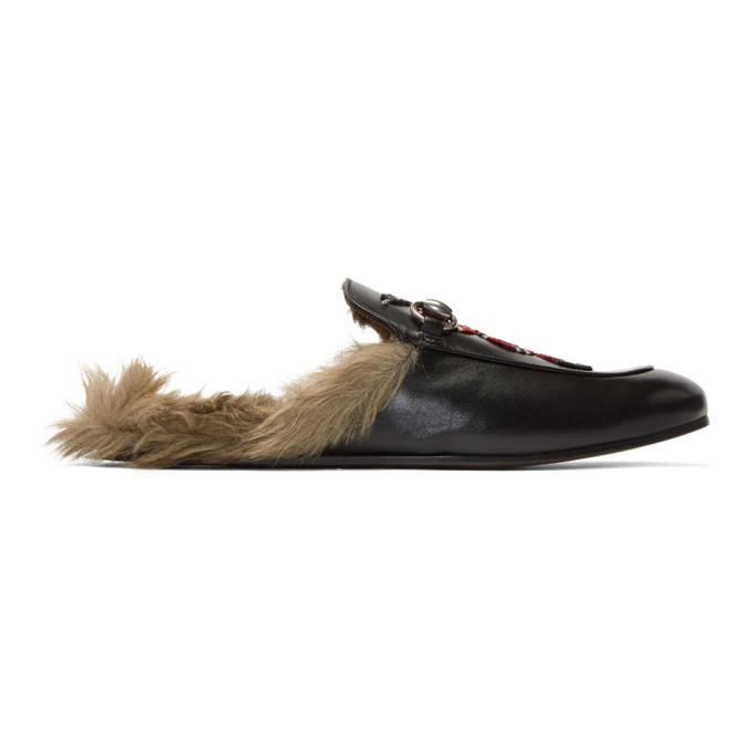 Photo: Gucci Black Snake Fur Princetown Slippers