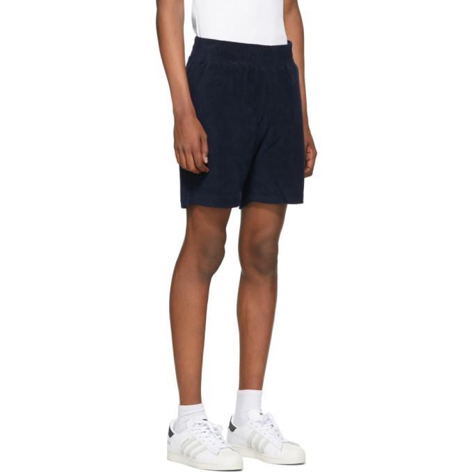 032c Navy Terry Logo Embroidery Shorts
