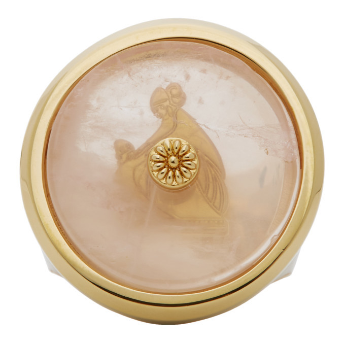 Photo: Lanvin Pink and Gold Enamel Quartz Signet Ring
